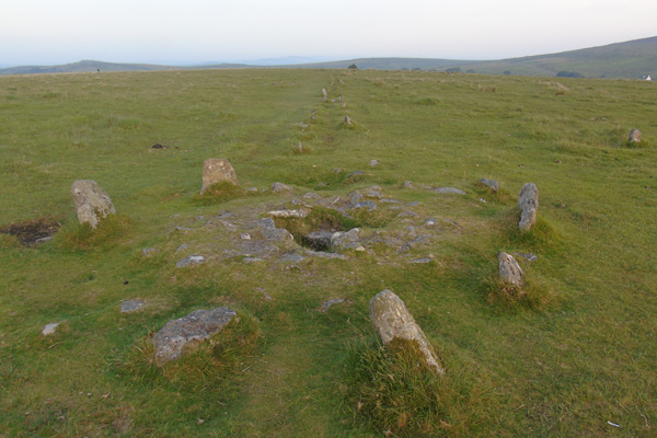 Cairn on double stone row Merrivale, Dartmoor