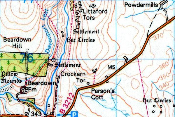 Littaford Tor map