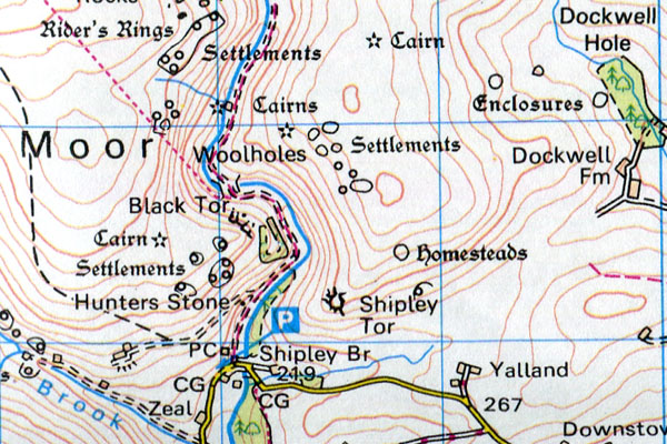 Shipley Tor Location Map