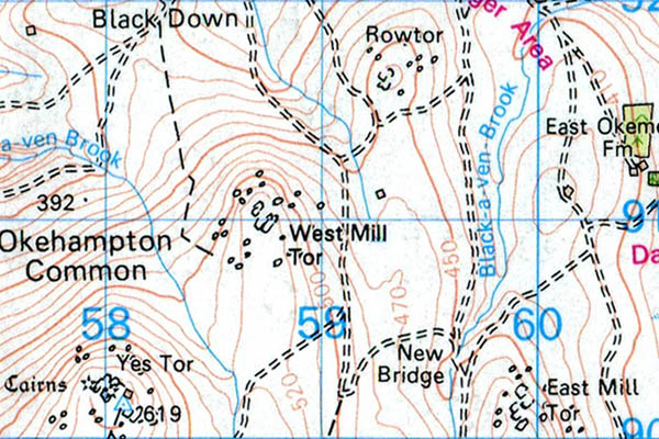 West Mill Tor 1:50 location map