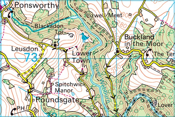 Blackadon Tor map