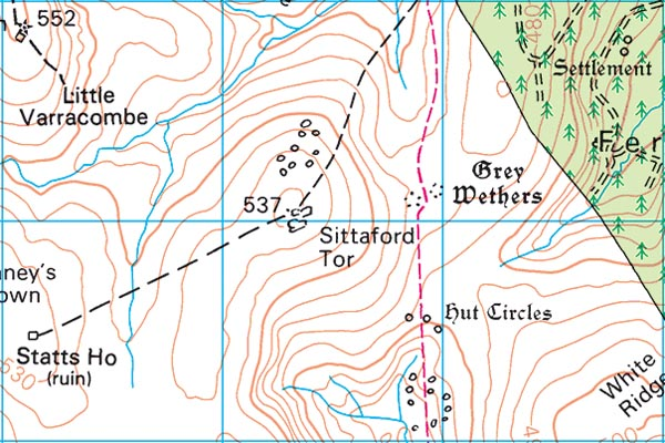 Sittaford Tor map